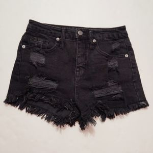 Mossimo Black Distressed High Rise Jean Short 00